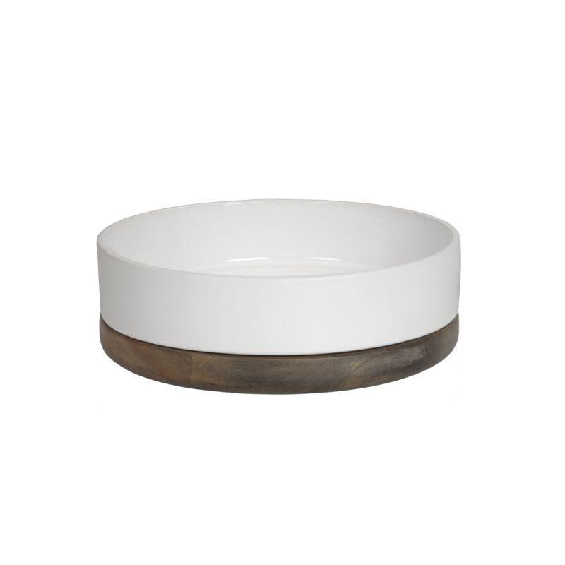 Półmisek, ceramika, drewno, biały, średnica 19 cm,