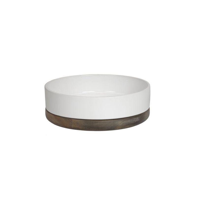 Półmisek, ceramika, drewno, biały, średnica 23 cm,