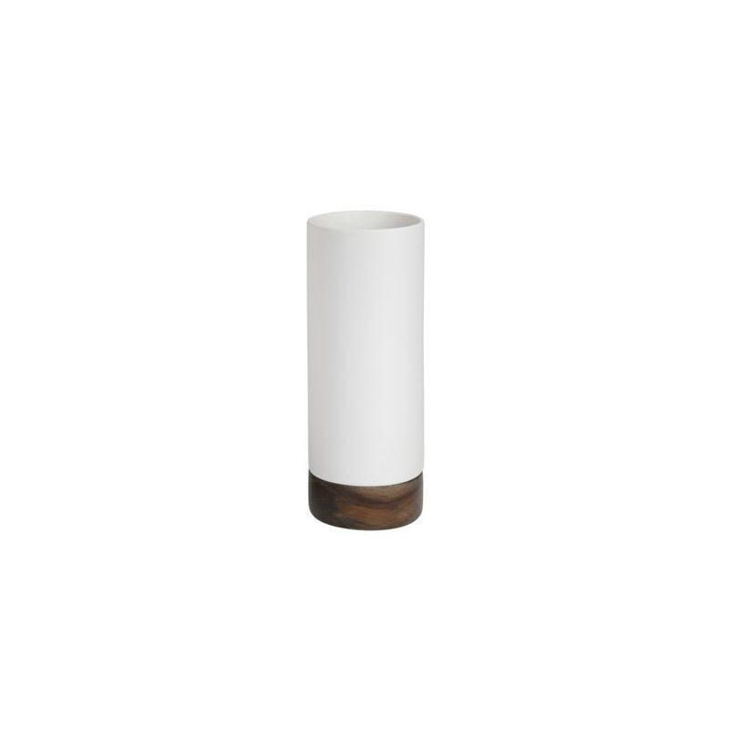 Wazon, ceramika, drewno, biały, średnica 16 cm, wy
